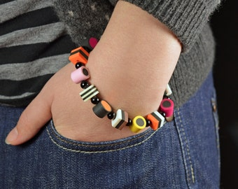Liquorice Allsorts Bracelet Adult size Polymer Clay Sweets