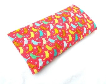 Bright Pink Birds Eye Pillow with Removable Case- With or Without Scent - Relaxing Eye Pillow Birds