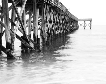 Pier black and white photo print, ocean art photography, Florida picture, nautical paper canvas home wall decor 8x10 11x14 16x20 24x36 30x45