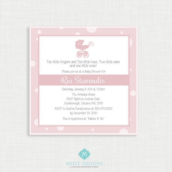 Printable Baby Shower Invitation-Girl Baby Shower Invitation - Printable Baby Shower Invitation - Pram Baby Shower - Baby Girl Invitation