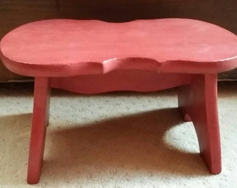 On Sale - Vintage Red Painted Foot Stool