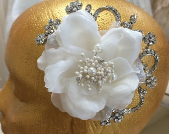 Fabric Flower, Pearl & Crystal Vintage Head Piece