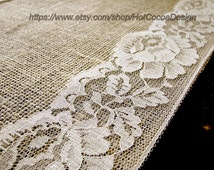 Country wedding table runner burlap and lace wedding rustic table linens bridal shower party, handmade in the USA