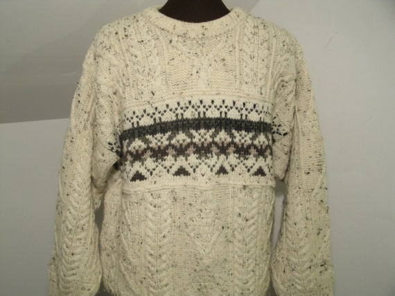 Irish Cable Knit Sweater Patterns : LL Bean Irish Wool Cable Knit Pullover by TheProfessorsAttic
