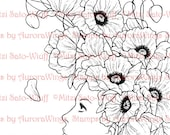 Digital Stamp - Instant Download - Poppies - digistamp - Girl with Poppies - Fantasy Line Art for Cards & Crafts by Mitzi Sato-Wiuff