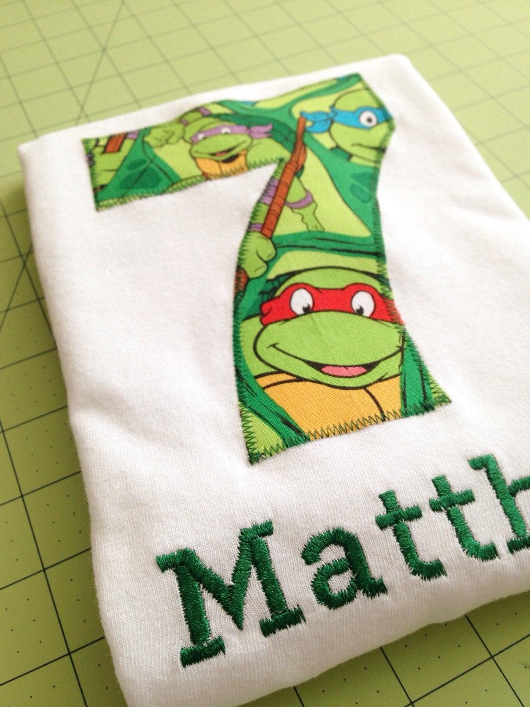 Teenage mutant ninja turtle birthday shirt kids by for Where can i buy ninja turtle shirts