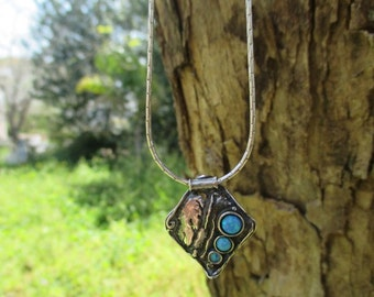 Handcrafted Sterling Silver Necklace with 3 Opals Inlaid, Necklace from The Ocean, Designed by Amir Poran