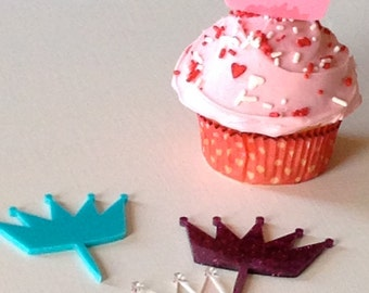 Set of 6 Acrylic Crown Cupcake Topper