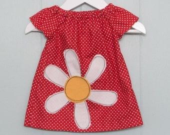 Baby dress, spotty dress, daisy dress
