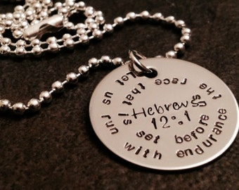 Hebrews 12:1 necklace let us run with endurance the race that is set before us marathon runner personalized necklace bible verse encourage