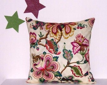 """HGTV Pink Floral Pillow Cover, 18"""" x 18"""" Green Gold Brown Cream Accent Pillow, Sofa Cushion Cover"""