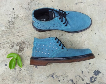 blue suede shoes US 8.5 women / 7.5 men / EU 40 Marapulai handmade sneakers silver stars