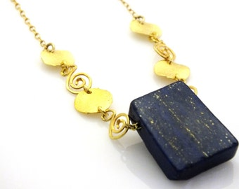 Big and impressive necklace. gold and blue necklace. Big Square Gold Necklace. Square Pendant, Hand Made, Modern, gold Chain, Statement.