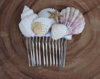 Number 3 Seashell Bridal Comb/ Flower Girl Comb/ Beach Themed Wedding