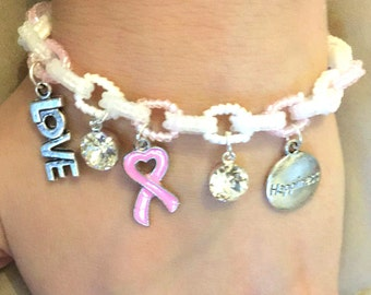 Breast Cancer Charm Bracelet with Adjustable Closure