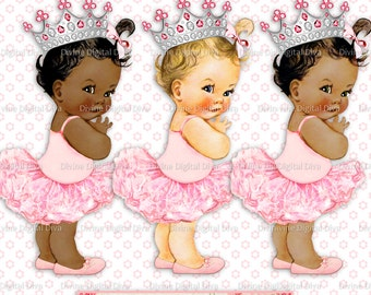Princess Ballerina Vintage Baby Girl Silver Crown 3 Skintones 5 Hair Colors Transparent Clipart  Instant Download PNG