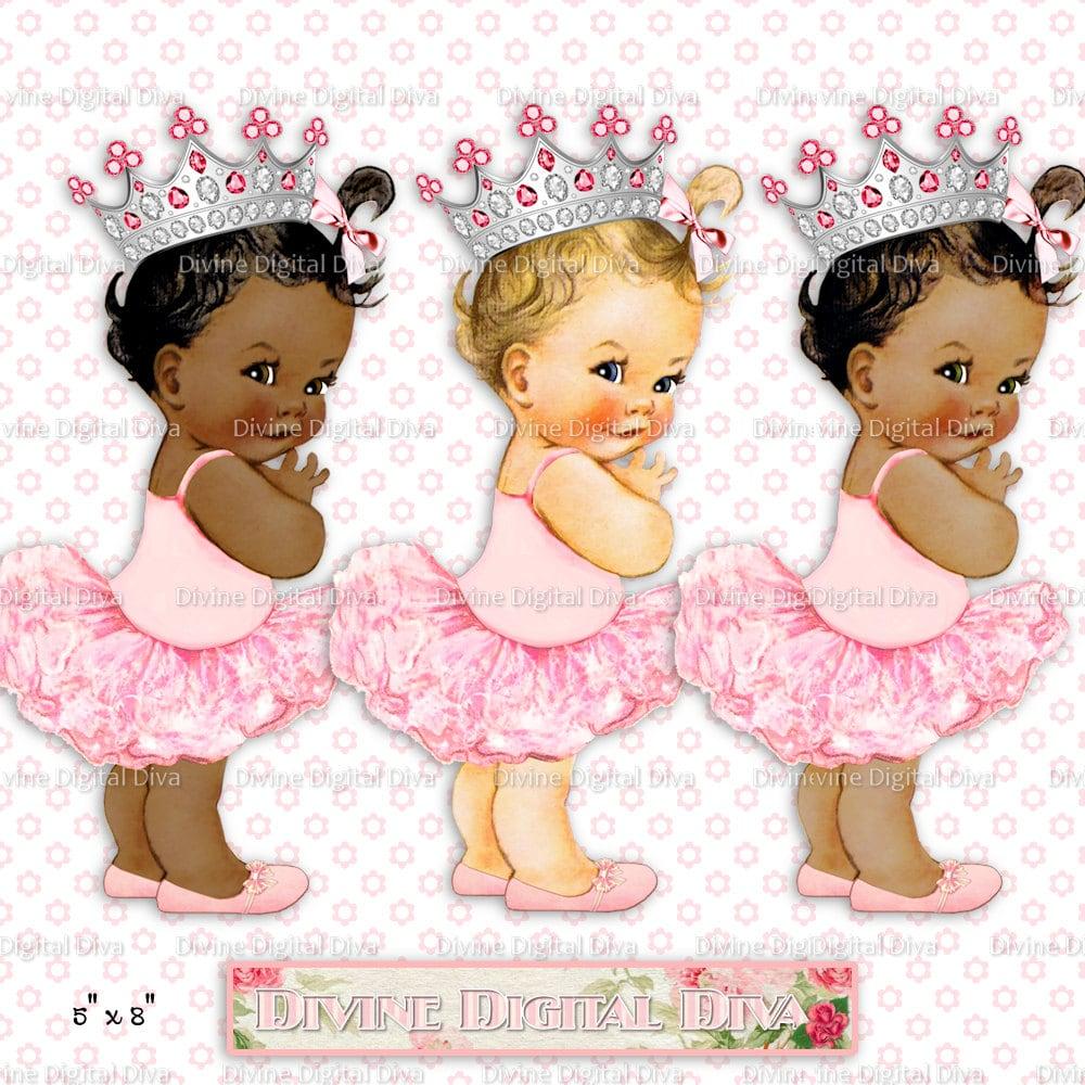 Princess Ballerina Vintage Baby Girl Silver Crown 3 Skintones