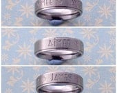 Hand Stamped Stainless Steel Ring, Personalised, Comfort Fit, Names, quote