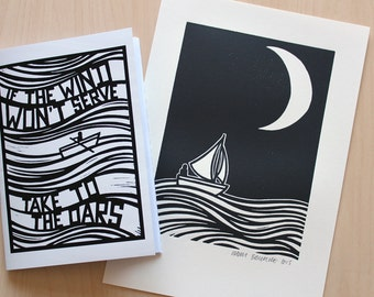 The Moon Lino Print + A Copy of 'If The Wind Won't Serve Take To The Oars' Zine / Artist Book