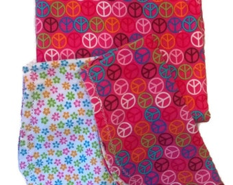 Peace Signs with Floral Backing Hemstitched Baby Blanket and Burps ready for you to crochet by Lindas Hemstitching