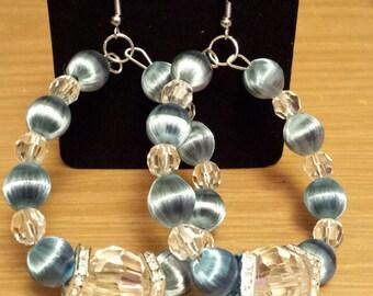 Vintage silk dangle earrings with rhinestone spacers