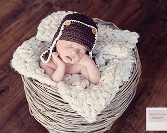 Aviator Baby Hat, Newborn Photo Prop, Brown Boy Hat, Brown Aviator Hat, Chocolate Brown Aviator Baby Hat, Baby Boy Hat, Baby Boy