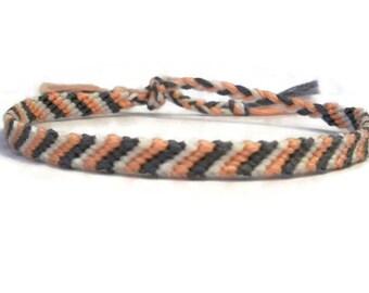Pink, White and Grey Candy Stripe Pattern Embroidery Macrame Friendship Bracelet