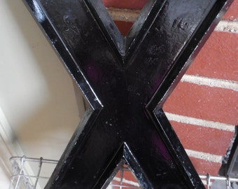 """Large Industrial 10"""" Metal Theater Marquee Letter X - Vintage Aluminum Adler Sign"""