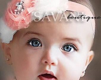 CHOOSE COLORS, baby headband,rose headband, shabby chic roses headband, girls headband #