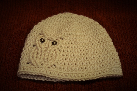Free Crochet Cable Owl Hat Pattern : Cable Crochet Owl Hat