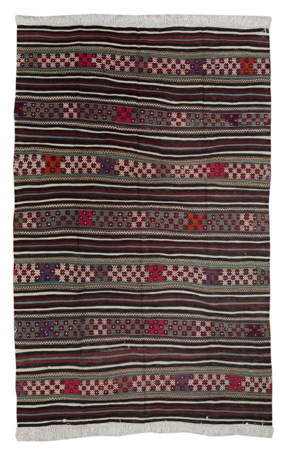 Vintage Handmade Kilim Rug Outdoor Kilim Rug by