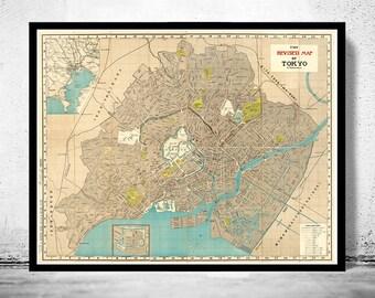 Vintage Map of Tokyo Japan 1907