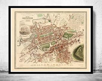 Old Map of Edinburgh 1853 Edinbourg with gravures, Scotland