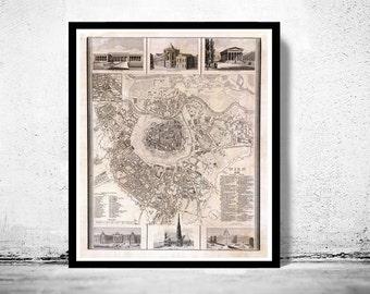 Old Map of Vienna Wien with gravures, Austria 1844 Vintage