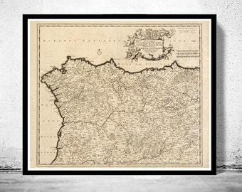 Old Map of Galicia Coruña Corunya 1780 Spain