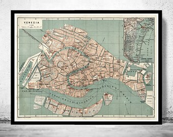 Vintage Old Map of Venice Venetia Venezia , Italy 1886