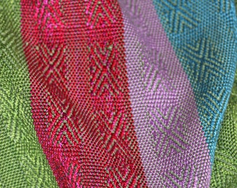 Handwoven Scarf - Tencel Scarf -  Blue, Lilac, Red & Green Hand Woven Scarf - Gift for him or her