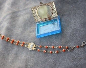 French antique19th century religious medal rosary sterling silver natural coral bead gold vermeil gothic blue jewelry box bracelet reliquary