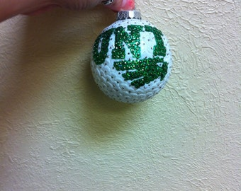 UNT Mean Green Eagles sequin christmas ornament