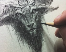 Your own original drawing! - Art commission - Choose your theme: Horned owl, Faun, Troll or Dragon - Graphite on paper - Fantasy Art
