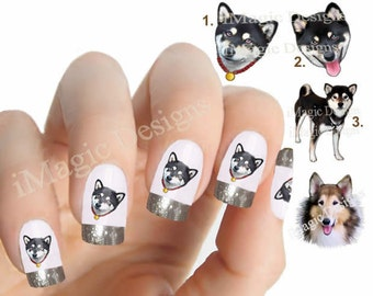 Nail Decals, Water Slide Nail Transfers, Nail Stickers, Dogs Photo Shoot - Black Shiba Inu or Collie