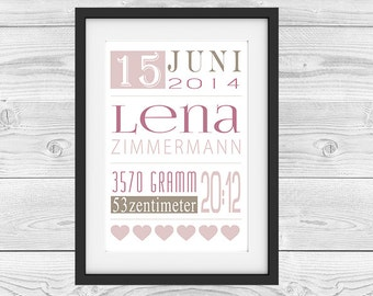 "Birth announcement personalized ""elegance girl"""