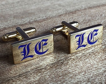 Colour Engraved Rectangle Cufflinks