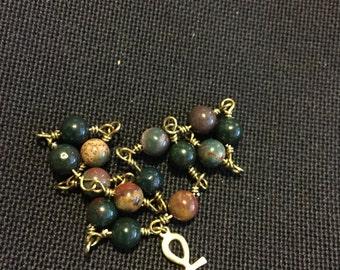 Bloodstone & Bronze Ankh Bracelet