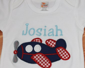 Baby Boy Bodysuit or Shirt - Baby Boy Airplane Outfit - Baby Clothes - Personalized Baby Bodysuit - Monogrammed Baby Clothes - Airplane