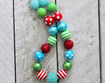 girl chunky bead bubblegum necklace red aqua lime green christmas necklace for girls birthday necklace in lime green red pink toddler girl