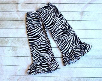 zebra Ruffle pants Girls birthday safar zoo fall ruffle pants Toddler ruffle pants ruffle pants black and white zebra fabric ruffle pants