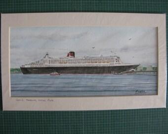 SALE - Cunard Queen Mary 2 QM2 Hythe Pier Southampton Water England Original Watercolour