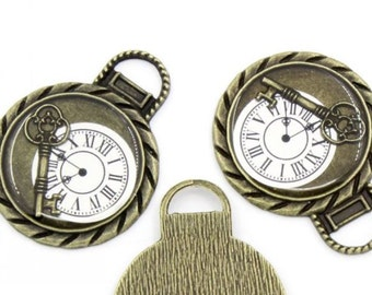 """ABYY1013 - Antique Bronze Finish Steampunk Key With Clock Face under """"Glass"""" Pendant Embellishment"""