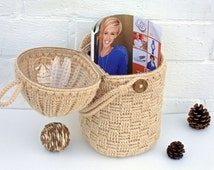 Crochet basket gift basket decorative basket accessory storage basket yarn bowl toys basket Woodland basket for craft supplies organizer